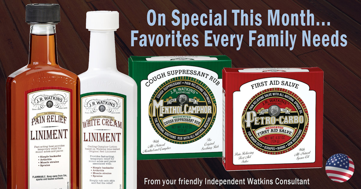 Watkins liniments, ointment, and salve for pain relief