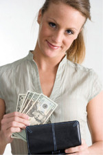 woman with wallet of money