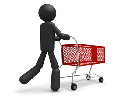 cartoon man pushing a shopping cart